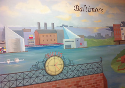 Mural of Inner Harbor Baltimore MD