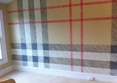 Burberry plaid painted wall in Tysons Corner VA