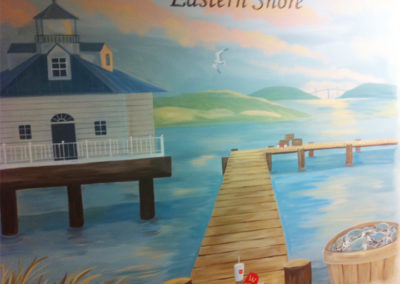 Mural of Eastern Shore Maryland with crabs and lighthouse