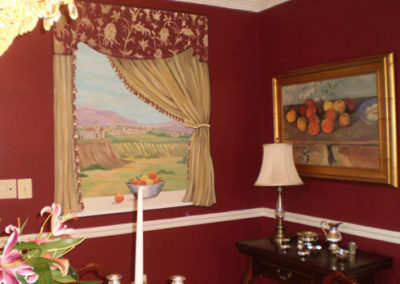 Faux window dining room mural in Washington DC