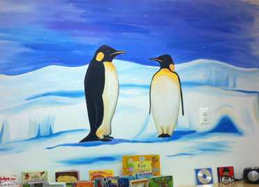 Penguin mural for school in Chantilly VA