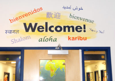 Welcome in many languages mural in Chantilly VA