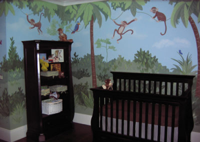 nursery mural with jungle and monkeys in Great Falls, VA