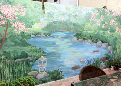 Outdoor mural of Japanese garden in Washington DC