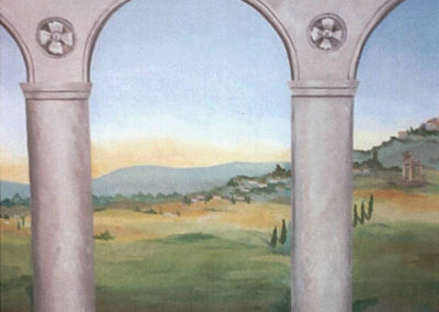 Outdoor mural on canvas of columns and Tuscan countryside in Washington DC