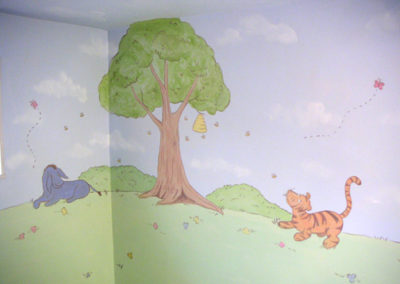 nursery mural with Winnie the Pooh Tigger Eore in Washington DC