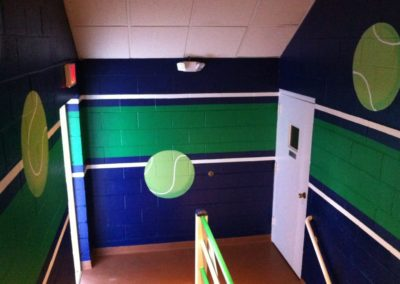 Murals with tennis balls and stripes in Mclean VA