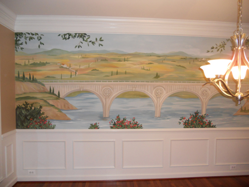 dining room Europpean landscape mural with bridge in Chantilly VA