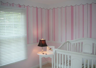 Painted stripes in pink for nursery in Sterling, VA