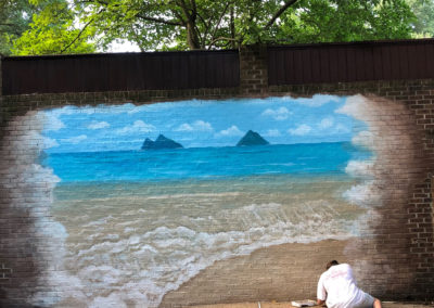 Outdoor beach mural on brick in Alexandria VA