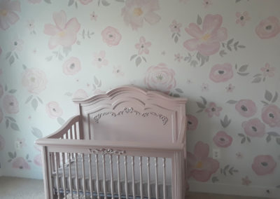 painted flower pattern nursery mural in Alexandria VA