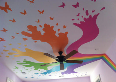 ceiling mural with rainbow and butterflies in Potomac MD