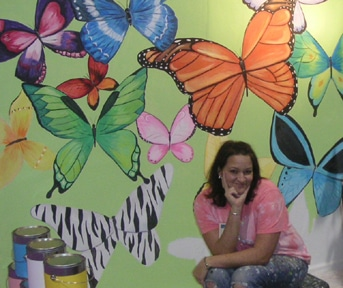 mural with colorful butterflies in Virginia VA