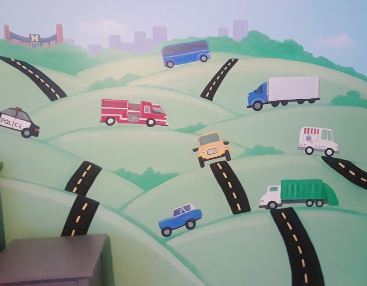 Mural for kids room with cars trucks and magnetic paint in Bethesda MD