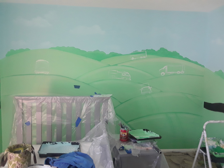 rolling hills kids bedroom mural