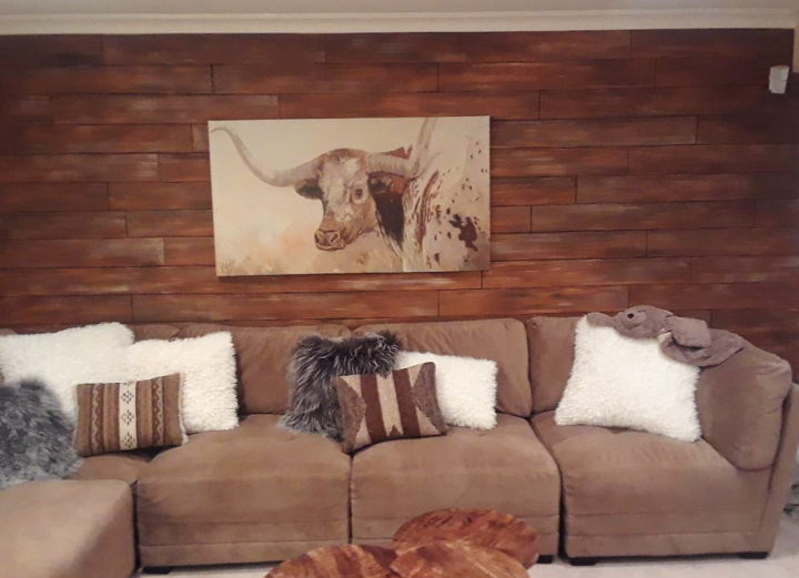 Living room mural faux wood with cow picture