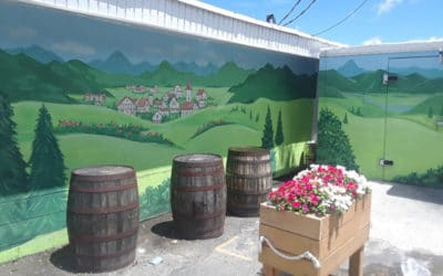 Mural Transforms Brick into Back Patio Escape!